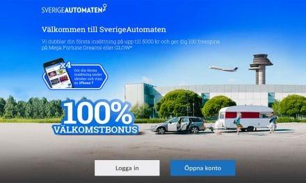SverigeAutomaten 100 % bonus upp till 5.000 kr + 100 free spins