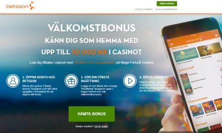 Betsson casino 100 % bonus upp till 10.000 kr