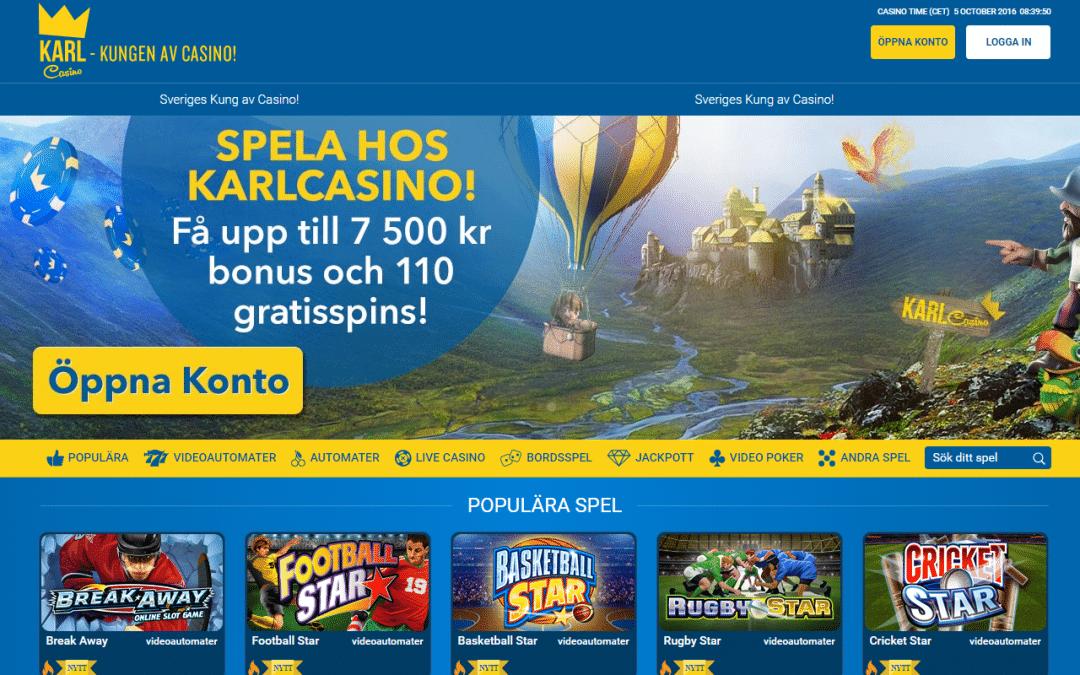 KarlCasino 100 % bonus upp till 7500 kr