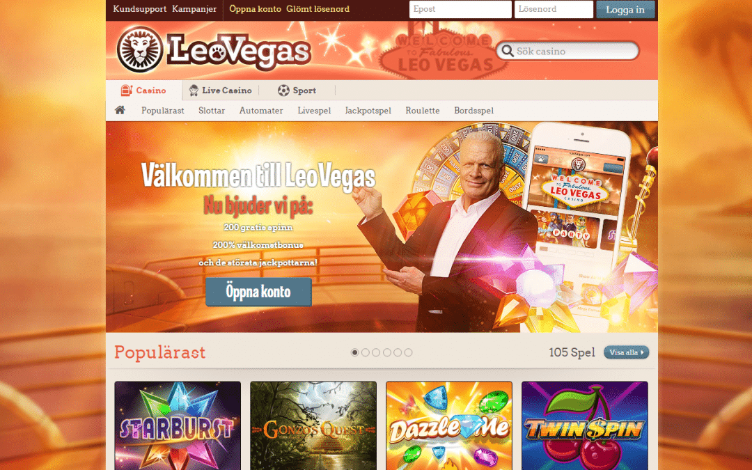 LeoVegas 200 % Casinobonus upp till 4 000 kr + 100 Free spins