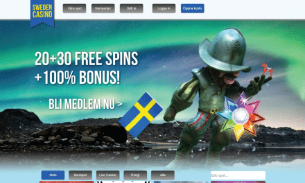 SwedenCasino 200 % bonus upp till 1000 kr + 50 Free spins