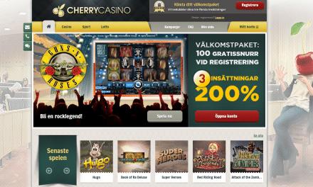 CherryCasino 200 % bonus – 3 insättningar