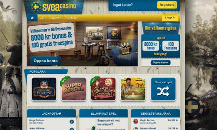 SveaCasino bonus upp till 12 000 kr + 120 Free spins
