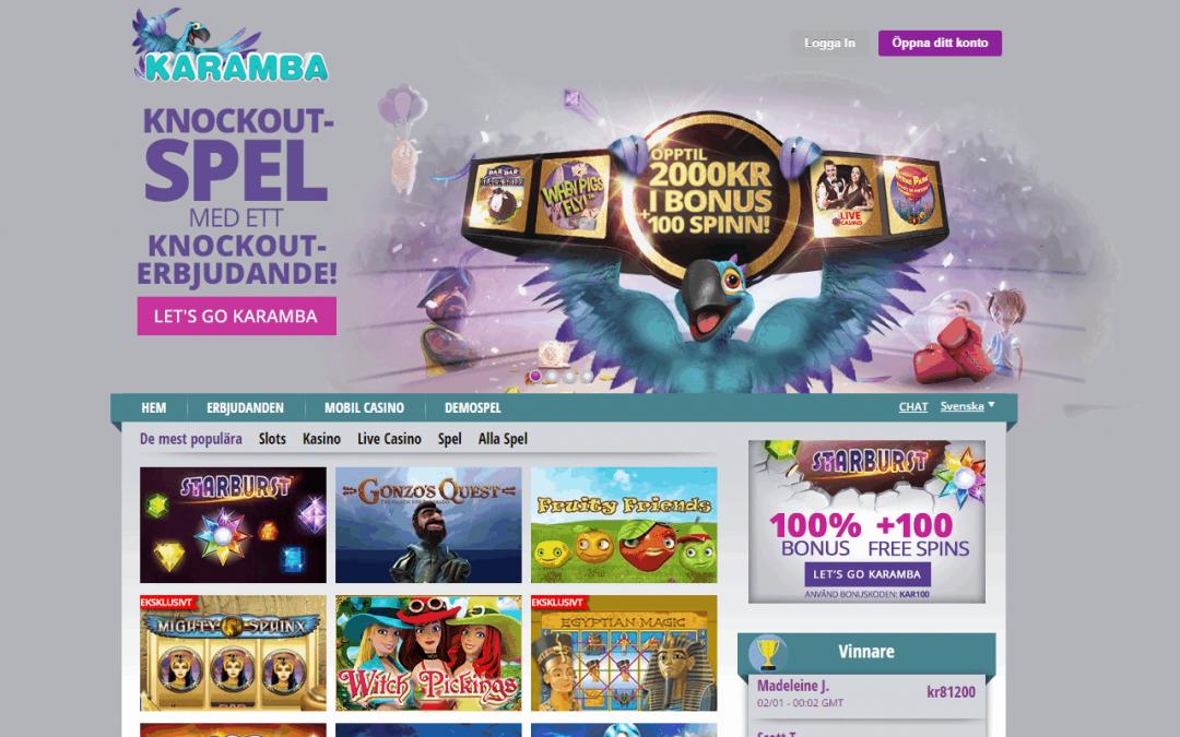 Karamba casinobonus 2000 kr + 100 free spins