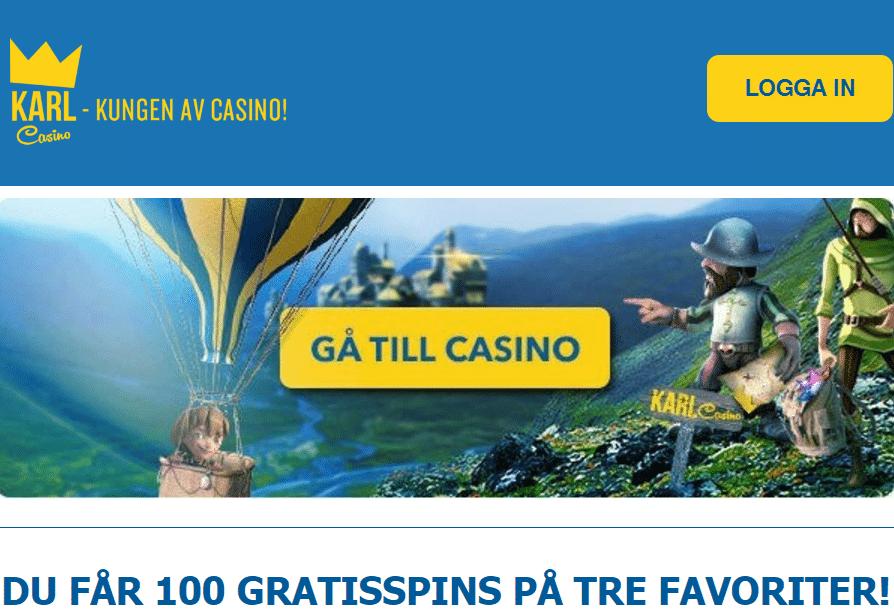 100 gratis spins karl casino