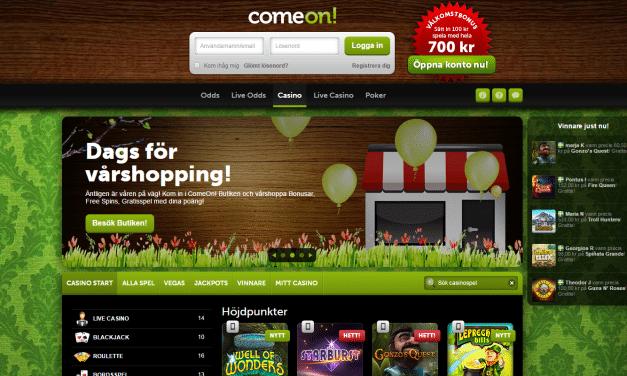 400 % bonus hos Comeon väntar nya kunder