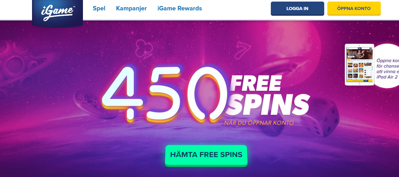 450 free spins iGame