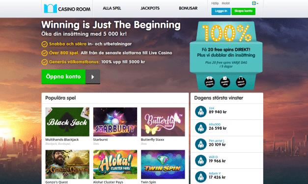 Casino Room 100 % casino bonus upp till 5000 kr