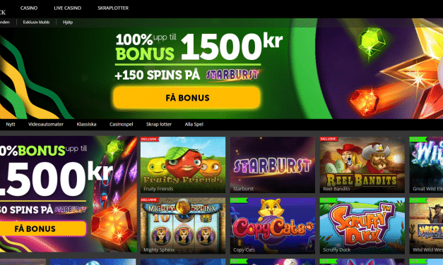 CasinoLuck 100 % bonus upp till 1500 kr + 150 free spins