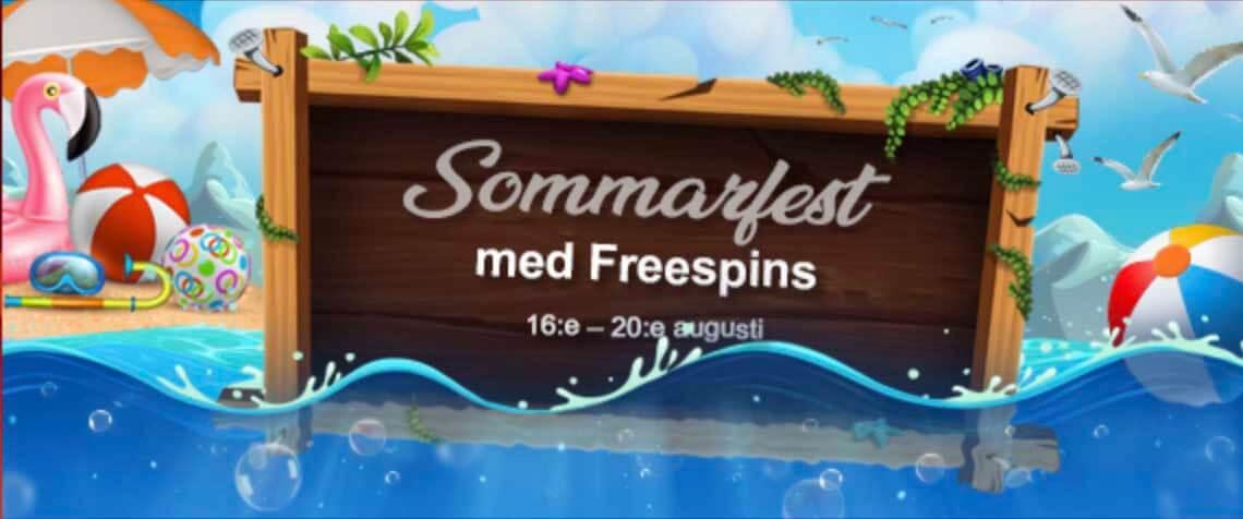 Sommarfest med Freespins 16-20 Augusti 2018