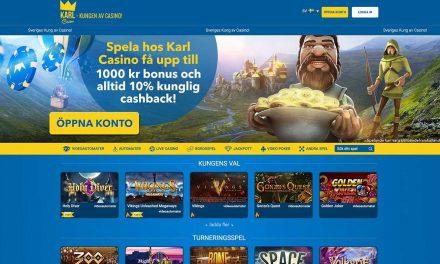 KarlCasino 100% Bonus upp till 1000 kr + 10% Cashback